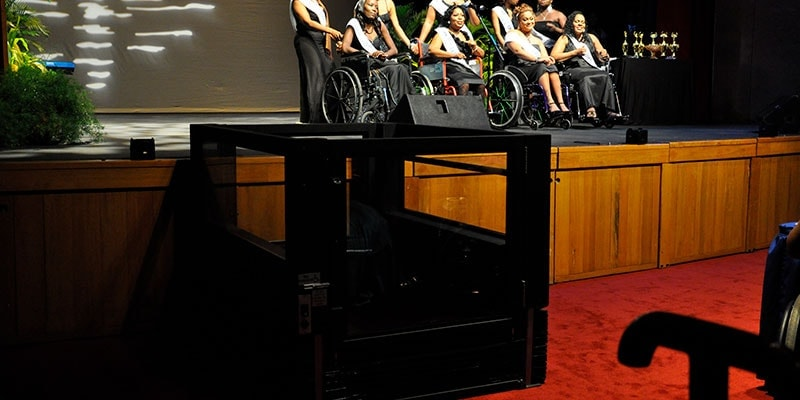 Queen's Hall Theatre in Trinidad and Tobago purchased an Ascension Virtuoso Wheelchair Lift and uses it for a variety of events.