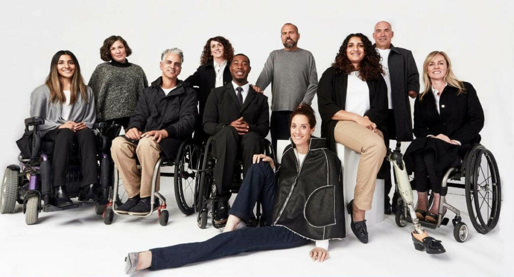 People with disabilities model clothing