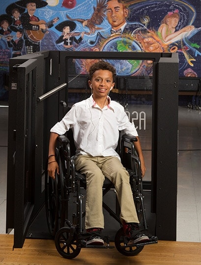 Ascension Protege Wheelchair Lift Being used by an elementary school Student